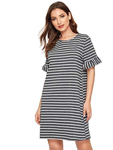 Floerns Women's Striped Short Sleeve Loose Swing T-Shirt Dress Grey L