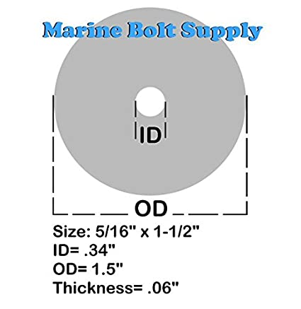pack of 100pcs Type 18-8 Stainless Steel Fender Washers Size #10 x 3//4 Marine Bolt Supply