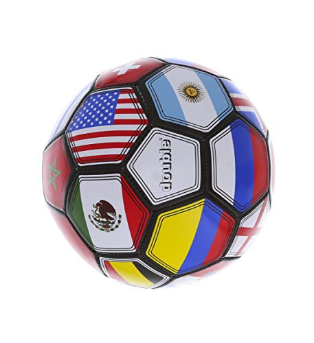 Mozlly International Flag Champions League Soccer Ball, 10 inch Size 5 Rubber Textured Easy Grip Handling for Tournament Games Training Recreation Outdoor Indoor Activity for Men Women Boys Girls