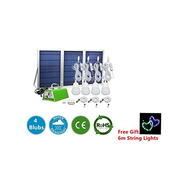 GMFive-30W-Panel-Solar-Home-System-Kit-Garden-Pathway-Stair-Camping-Fishing-Outdoor-Solar-Powered-Lamp-Including-Cell-Phone-Charger-4-LED-Strong-LED-Lights