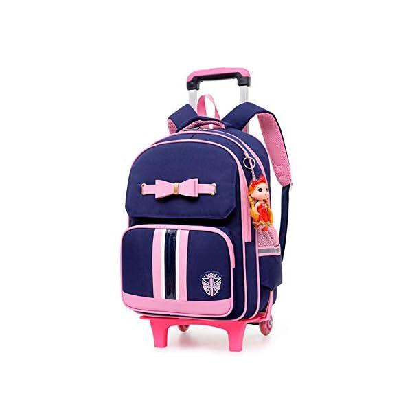 Borsa da scuola trolley per bambini in stile britannico Borse da scuola Bow Roller perzaini da viaggio zainoper ragazzeadolescenti-6weel_blue 2 spesavip