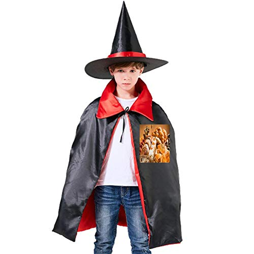 (One of my Bread Dessert Halloween Shawl and Witch Hat for Children Kids)
