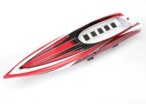 (Traxxas Spartan VXL6S Boat RED BLACK & WHITE HULL, HATCH Tub Chassis)
