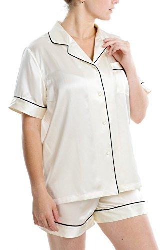 (OSCAR ROSSA Women's Luxury Silk Sleepwear 100% Silk Short Sleeve Top Boxer Short Pajamas Set,Ivory,Small)