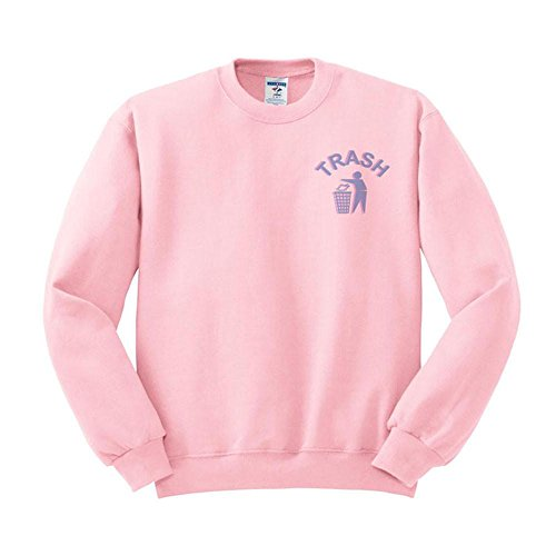 TeesAndTankYou Trash Cyber 90s Tumblr Sweatshirt Unisex 4X-Large Pink