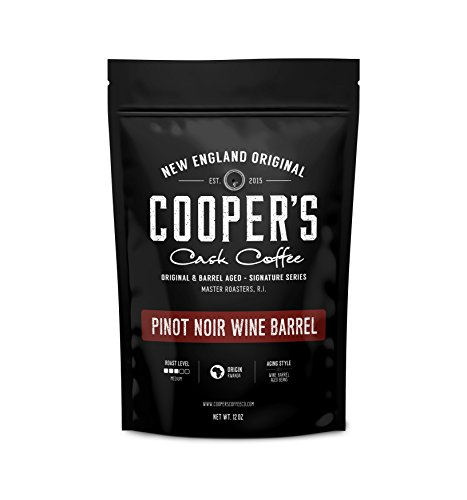 100% Pinot - Cooper's Cask Coffee Wine Barrel Coffee Pinot Noir Aged Rwanda Beans, Incredibly Complex & Smooth Roasted Fresh - Whole bean 12oz Bag, 100% Guaranteed
