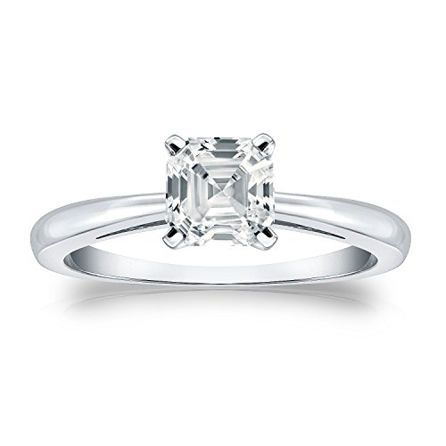 Diamond Wish Platinum Asscher-cut Diamond Solitaire Ring (1 carat TW, White, SI2-I1, IGI Certified) 4-Prong, Size 6