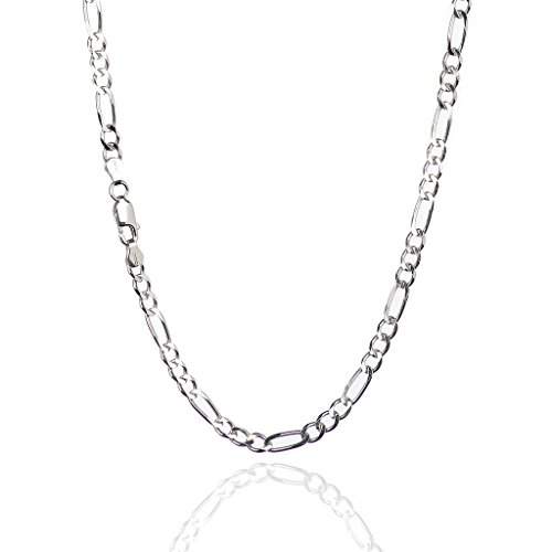 925 Sterling Silver 4.50 mm Beveled Dia-Cut Figaro Chain Necklace with Lobster Clasp-Rhodium Finish ()