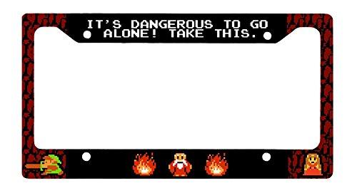 8 bit Zelda - Its Dangerous to Go Alone License Plate Frame - Link Hyrule ()