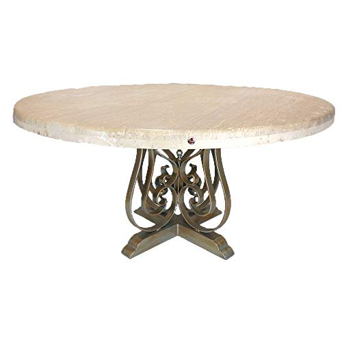 Rustic Elegant Round Dining Table with Sturdy Wrought Iron Legs and complemented with a Cream Bullnose Travertine - Dining Travertine Furniture