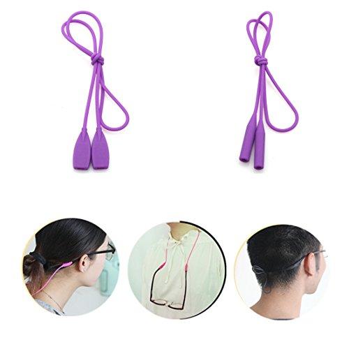 Kalevel® 2pcs 2 Styles Sports Eyeglass Strap Holder Silicone Eyeglass Holder Strap Eyeglass Chain for Kids Men Women (Purple)