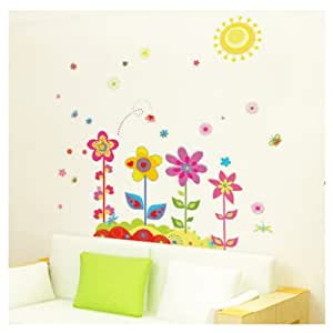 Toprate(TM) Beautiful Colorful Sunflower Easy Instant Decoration Removable DIY Wall Sticker Decal Peel & Stick for Nursery Baby Girls Kid's Room