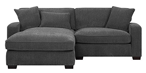 Emerald Home Repose Charcoal Sectional, with Pillows, Ultra Soft Fabric, Track Arms, And Block Legs ()