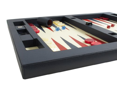 "Leather Table Top Backgammon Set - (26"" Extra Large Board, Zaza & Sacci) - Blue"