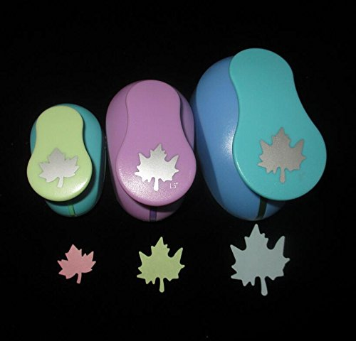 Maple Leaf Button (Fascola Set of 3pcs Maple leaves(1 inch+1.5 inch+2 inch )craft punch set round Paper Punch Punch Craft Scrapbooking eva punches (Maple leaves))