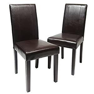 picture of Roundhill Furniture Urban Style Solid Wood Leatherette Padded Parson Chair, Brown, Set of 2