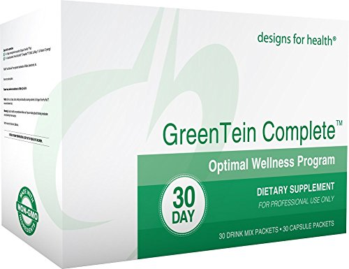 Designs for Health - GreenTein Complete Optimal Wellness Program - Organic Pea Protein, OmegAvail Fish Oil + Multivitamin + Cal/Mag + Vitamin D Packets, 30 Servings by designs for health