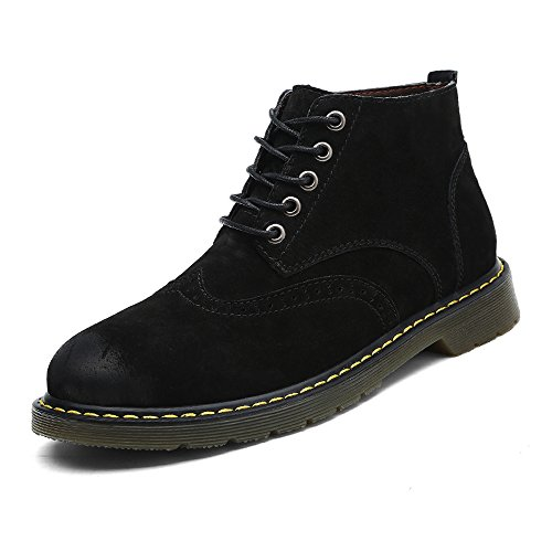 Black Oxford Chukka Boots for Men Spring Autumn Suede Cow Leather Lace up Fashion Outdoor Desert Boot Size 8 (9930black42)
