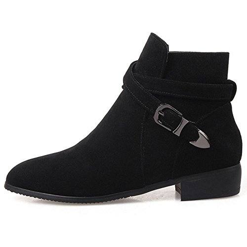 COOLCEPT Women's Fashion Flat Ankle Boots Black MfuBG7Nb2S