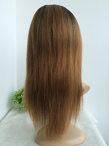 CHINESE VIRGIN HAIR,14 INCH,LIGHT YAKI FULL LACE WIGS SILK TOP BLEACHED KNOTS by April silk top wigs