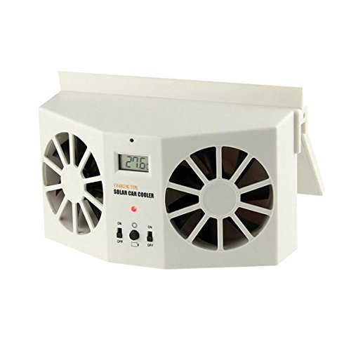 Ivory Solar Powered Dual Fan Car Front Rear Window Air Vent Cool Cooler Fan Windshield Fan Car Radiator