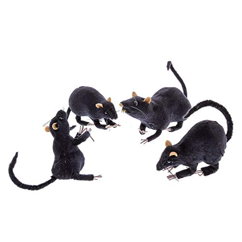 Halloween Haunters 4 Realistic Scary Black Rats with Unique Poses Prop Decoration - 12