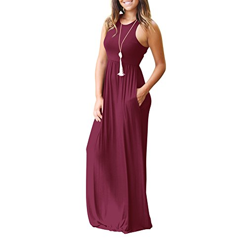 Length Floor With Dress Maxi Red Wine Idingding Pockets Sleeve Sleeveless Women's Printed Pleated Vintage Floral Long nn0X7qY