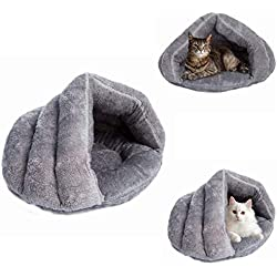 MeiLiMiYu Plush Cat Sleep Bag Zone Pet Cave Bed Cozy Cuddle Pouch Pet Bed Covered Hooded Pet Cave for Cat and Puppies (Gray)