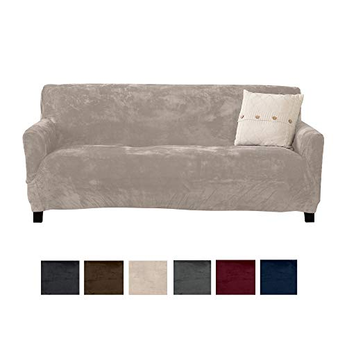 Great Bay Home Modern Velvet Plush Strapless Slipcover. Form Fit Stretch, Stylish Furniture Cover/Protector. Gale Collection Brand. (Sofa, Silver Cloud)