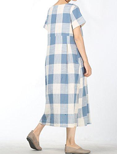 Girocollo Camicie Casuale Mallimoda Blu Plaid Donna Abito Vestito qTwEaBxO
