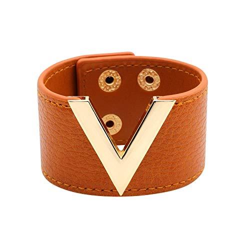 Designer Inspired Wide Cuff Leather Wrap Bracelet V Shape 21cm 8 inch Length (Caramel Brown)