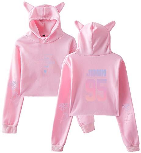donne Pink le Oliphee Cat Felpa Cat Bolero Stampato per con orecchie 95j Pattern Bts RdPdqwx7v