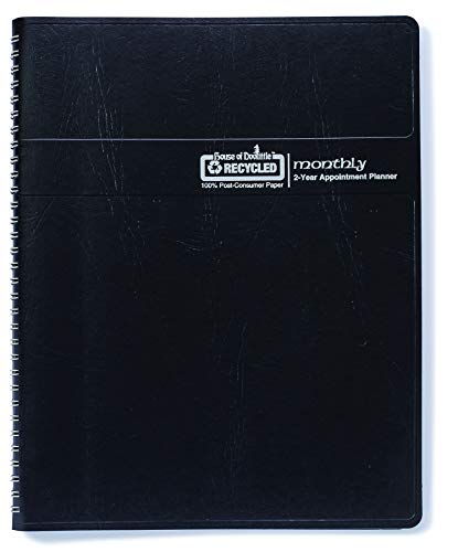 House of Doolittle 2020-2021 Monthly Calendar Planner, 2 Years, Expense Log, 6.9 x 8.75 Inches, Simulated Black Leather Cover (268002-20) ()