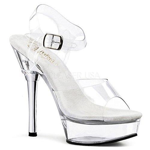 Pleaser Women's Allure-608/C/M Platform Sandal,Clear Polyvinyl Chloride,8 M US ()
