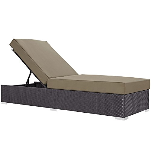 Modway Convene Wicker Rattan Outdoor Patio Chaise Lounge Chair in Espresso Mocha For Sale