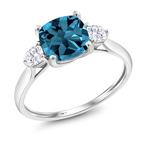 10K White Gold Solitaire w/Accent Stones Ring Cushion London Blue Topaz and Timeless Brilliant Created Moissanite (IJK) 0.26ct (DEW) (Size 8) ()