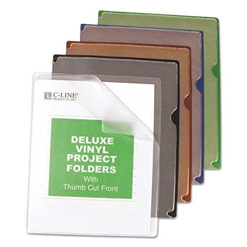 Cline Deluxe Vinyl Project Folders - C-Line 62150 Deluxe Project Jacket Folders, Letter, Vinyl, Black/Blue/Clear/Green/Red, 35/Box