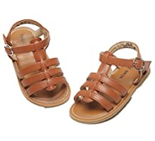 THEE BRON Girl's Toddler/Little Kid Classic Sandals Flat Shoes (11M - 7.3 inch -18.5cm, Brown)