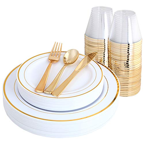 IOOOOO Gold Plates & Plastic Silverware & Gold Cups, Disposable Dinnerware 150 Pieces Includes: 25 Dinner Plates, 25 Dessert Plates, 25 Tumblers, 25 Forks, 25 Knives, 25 Spoons ()