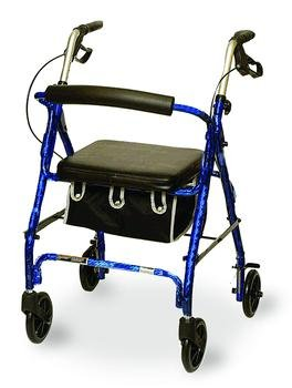 Blue Rollator Rolling Walker w/ Seat Basket Folds for Transport Sturdy yet Light by MC