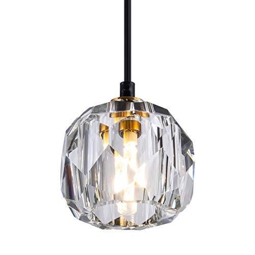 Bewamf Modern Crystal Island Pendant Lighting Mini Vintage Glass Foyer Chandelier Contemporary 1-Light Soccer Ball Shape Ceiling Hanging Lights Fixture for Kitchen Island Living Room Bedroom Brass
