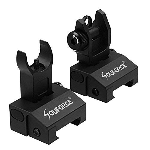 SOUFORCE Front Rear Iron Sights,Mil Spec Foldable Adjustable Flip up Sight for Picatinny Weaver Rails -