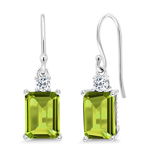 Gem Stone King 3.46 Ct Octagon Green Peridot White Topaz 10K White Gold Earrings 10k White Gold Green