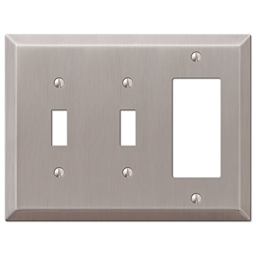 (Amerelle Century Double Toggle/Single Rocker Steel Wallplate in Brushed Nickel )