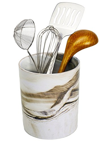Porcelain Kitchen Utensil Holder - Decorative Marble Utensil Crock - 6.5'' Tall Dessert Brown, Art and Office Supplies Holder - by Marbelous by Marbelous (Image #1)