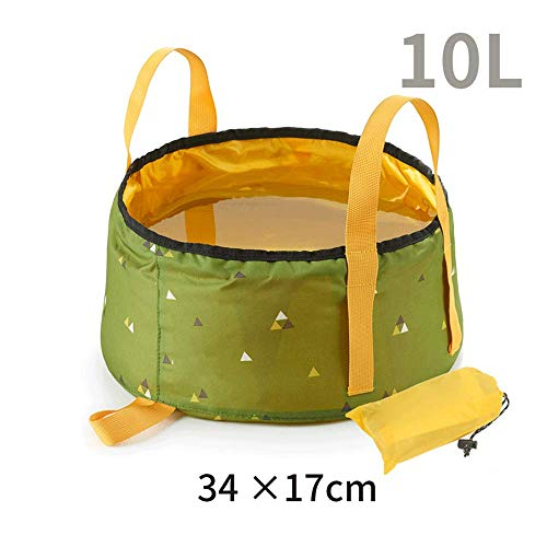 Folding washbasin portable travel collapsible washbasin outdoor travel wash laundry tub foot bath barrel foot wash bucket (grass wood green, 3417cm) (Bucket Wood Bath)