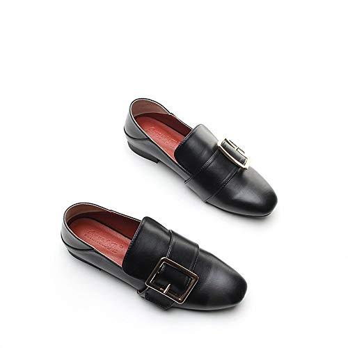 Cabeza Grueso Cuadrada Zapatos con De Mujer Profunda Decoraci Casual WULIFANG wqRU0I0
