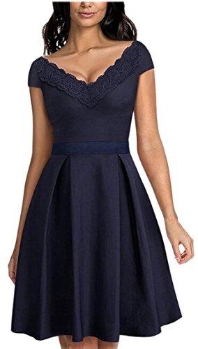 Sleeve Dress Neck Swing Short Pleated Jaycargogo Vintage Dress Women¡¯s 2 V 5tUqHXw