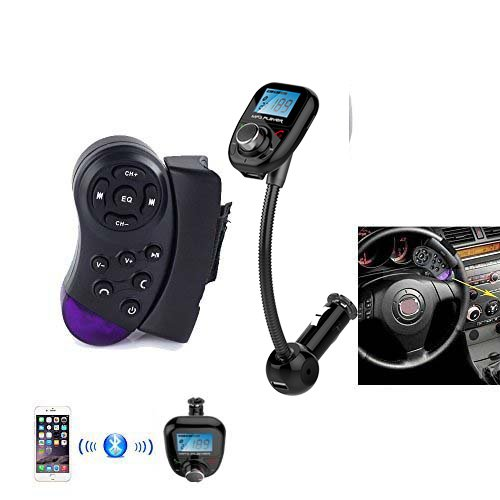 Bluetooth Handsfree FM Transmitter With Steering Wheel Controller Car Kit MP3 Music Player Radio Adapter with Remote Control For iPhone Samsung LG Smartphone
