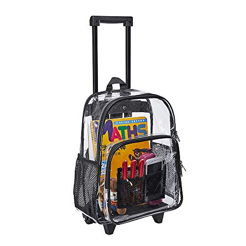 Rolling Clear Backpack, Heavy Duty Cold-Resistant Security Transparent PVC Backpack with Wheels